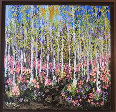 My Original Landscapes are inspired by the changing seasons. This piece brings joy and serenity to most who see it in person. My color choices were deliberately light and airy. Painted on an all wood hand made canvas and framed in a Chocolate brown frame. Impasto style is very textured and done with all pallet knife.  Go to www.creativewomanhood.com or my etsy page for more information on this or many of my creations.