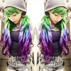green ombre hair color DIY with blue and purple~ nice peacock hair color~ love it