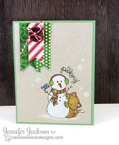 Kitty Christmas Card with Snowman by Jennifer Jackson for Newton' Nook Designs - Newton's Curious Christmas Stamp set