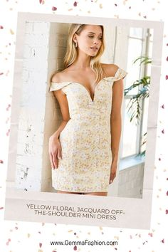 💥 FAVORITE SONG YELLOW FLORAL JACQUARD OFF-THE-SHOULDER MINI DRESS We're playing our Favorite Song Yellow Floral Jacquard Off-the-Shoulder Mini Dress on repeat! A glossy white floral pattern is embossed across textured woven jacquard as it forms a flirty V-neckline (with a supportive V bar) and short off-the-shoulder sleeves with hidden no-slip strips. #Fashion #minidress #outfit #womenswear #womensclothing #clothing #clothes #shoppingonline #chic #apparel #shopping #dresstoimpress Nurse Costume, Costume Dress, Halter Mini Dress, High Cut Bikini, Floral Print Maxi Dress, Asymmetrical Tops, Dress To Impress, Repeat, Neckline