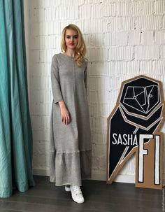 Купить Платье FOOTER GRAY LONG - серый, однотонный, платье, платье трикотажное, платье из трикотажа