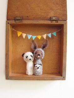 FINGER PUPPET BOX Needle Felted Kangaroo and Panda by LazyAnimals, $84.00