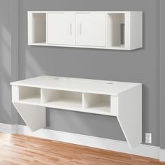 BCP Designer Floating Desk With Hutch White Finish Wall Mounted Computer Desk #BestChoiceProducts