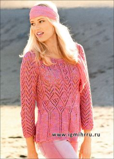 Микс узоров карамельных расцветок. Узорчатый меланжевый пуловер. Спицы
