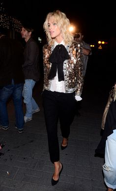 la modella mafia Anja Rubik red carpet chic in a Saint Laurent gold sequin jacket, black trousers and pumps 2 Party Fashion, Fashion Outfits, Womens Fashion, Bar Outfits, Vegas Outfits, Woman Outfits, Club Outfits, Gold Sequin Jacket, Sequin Blazer