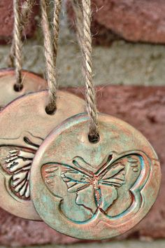 Tags made from oven bake clay.