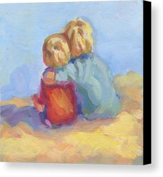 Two Boys On The Beach Print Canvas Print featuring the painting Family Ties by Lucelle Raad