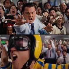 """El lobo de Wall Street- Al comienzo de la cinta,mientras Jordan está recordando cómo llegó a ser rico,se congela la imagen,supongo que para no distraer al espectador mientras el protagonista trata de """"rebobinar"""""""