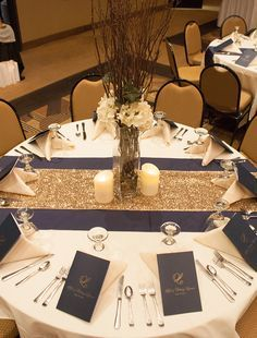 navy and gold wedding reception - Google Search