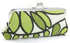 Leaves Clutch Green and White Metal Frame Purse Evening by BagBoy, $52.00