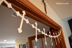 Cute banner bunting decorating idea for a baptism party.