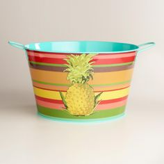 Our bright drink tub features multicolored stripes and a tropical pineapple for a refreshing splash of style and warmth at your next outdoor gathering. www.worldmarket.com #CelebrateOutdoors