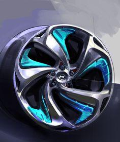 Hyundai i flow concept wheel design sketch - car body design motorcycle wheels, chrome wheels Truck Wheels, Wheels And Tires, Auto Wheels, Can Am Spyder, I30 Hyundai, Supercars, Design Autos, Design Cars, Hyundai Veloster