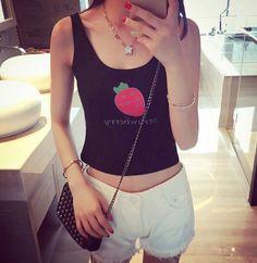 $3.45New Fashion Women O-Neck Sleeveless Fruit Print Casual Short Tank Top