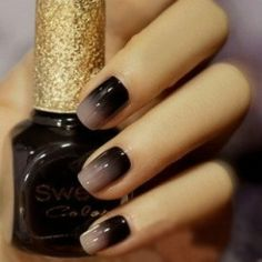 black ombre nails #nails #ombre #nailart