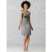 TYAD1121 Matte Satin Cocktail length Charcoal Grey Cocktail ...