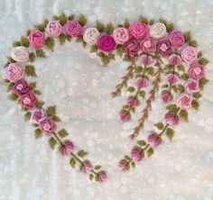 Bullion Embroidery, Diy Embroidery Patterns, Ribbon Embroidery Tutorial, Embroidery Hearts, Basic Embroidery Stitches, Hand Embroidery Videos, Hand Embroidery Flowers, Embroidery Works, Flower Embroidery Designs