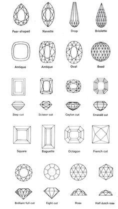 Favorites in order: 1 Brilliant full cut 2 Eighth cut 3 Scissor cut 4 Pear Jewelry Art, Gemstone Jewelry, Mom Jewelry, Sapphire Jewelry, Sterling Jewelry, Jewelry Stand, Girls Jewelry, Cheap Jewelry, Jewelry Stores