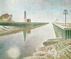Rye Harbour Print by Eric Ravilious — Pallant Bookshop Rye Harbour, London Transport, Art Uk, Chalk Pastels, East Sussex, Wood Engraving, Walking In Nature, Linocut Prints, Printmaking