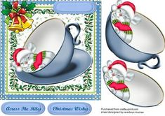 Little Mouse asleep in a blue teacup  on Craftsuprint designed by Ceredwyn Macrae - A lovely car to make and give to anyone at Christmas Little Mouse asleep in a blue teacup a lovely card has two greeting tags and a blank one for you to choose the sentiment,  - Now available for download!