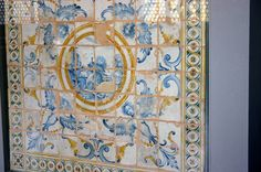 """Relics of the 1627 Montelupo Fiorentino maiolica floor designed in 1627 by Giulio Parigi for the """"stove room"""" in Palazzo Pitti in Florence, Italy. They are on display in the """"Sala della Tazza"""" (Hall of the Cup). Picture by Giovanni Dall'Orto"""