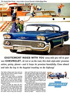 1958 Chevy Chevrolet Impala Sport Coupe car and yacht art vintage print ad Chevrolet Impala, 1958 Chevy Impala, Gm Chevy, Chevy Chevrolet, Pub Vintage, Images Vintage, Vintage Posters, Volkswagen, Car Advertising