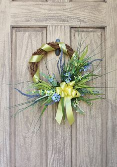 TODAY IS THE LAST DAY TO SAVE @ lovejoyandwreaths.com USE COUPON CODE 25OFF50 AT CHECK OUT WHEN YOU SPEND $50 OR MORE (exp. 11:59pm cst) - Spring Wedding Wreath, Blue and Yellow Wild Flower Wreath with Yellow Ribbon, Front Door Wreath, Spring Summer Decor, Small Grapevine Wreath #etsy #wreath #sale