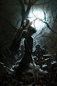 """Cover Art For Jonathan Mayberry's """"Out Of Tune by Ryan Brown ☠️ Dark Fantasy Art, Dark Gothic Art, Grim Reaper Art, Don't Fear The Reaper, Comic Books Art, Book Art, Dark Artwork, Skeleton Art, Horror Art"""
