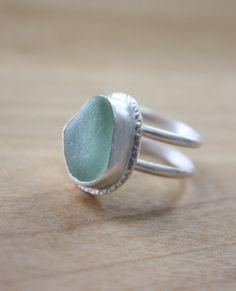 Seafoam Sea Glass Ring by Pengali Design.