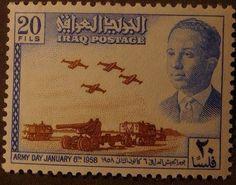 صورة لطابع عراقي صدر بمناسبة عيد الجيش العراقي في 6 كانون الثاني 1958