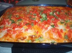 Robin's Enchilada Pie-  This is a delightfully filling dish.  The blend of meat and spices make for an authentic Mexican flavor that's sure to put a smile on your face!