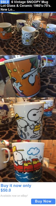 collectibles: 6 Vintage Snoopy Mug Lot Glass And Ceramic 1960S-70S. New Look! Rare. BUY IT NOW ONLY: $50.0