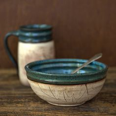 pottery bowl and mug