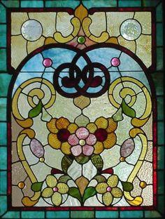 PR Antique American Stained Jeweled Beveled Panels Povey Bro Studio Portland