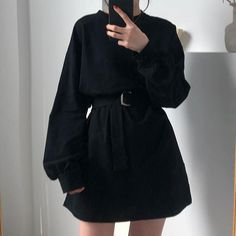 7 Colors Long T Shirt Women New Solid Color Female T-shirt Autumn Waist Belt Long Sleeve Shirt Women Casual Korean Tops 2019 - Purple One Size Source by Sweeterthensweet Dress Outfits, Casual Dresses, Cute Outfits, Fashion Outfits, Long Dresses, Dress Long, Long Shirt Outfits, Fashion Days, Harajuku Fashion