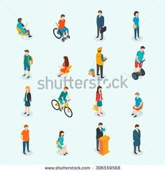 Isometric 3d vector people. Set of woman and man. Vector illustration - stock vector