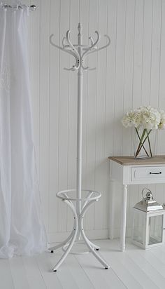 White coat stand. Bentwood traditional hat and coat Stands from The White Lighthouse. White hall furniture ideas in design and decorating