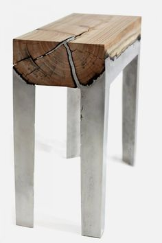 Unique Bench with Combination of Wood and Aluminium   Wood Casting
