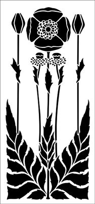 """Poppy Set stencil from The Stencil Library ARTS AND CRAFTS range. Stencil code DE132B. 17 x 17.5"""" (432 x 445mm) part two. £21.45."""