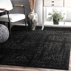 Teppich Bridport in Schwarz Maison Alouette Teppichgröße: Rechteckig 122 x 182 cm Cheap Rugs, Area Rugs For Sale, Floral Rug, Traditional Decor, Cool Rugs, Online Home Decor Stores, Online Shopping, Rugs In Living Room, Living Area