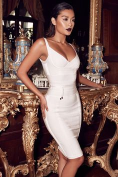 House of CB: Bandage Dresses : 'Belice' White Tie Waist Bandage Dress Knee Length Dresses, Tight Dresses, Sexy Dresses, Fashion Dresses, Fashion Sets, Club Fashion, 1950s Dresses, 1950s Fashion, Ladies Fashion