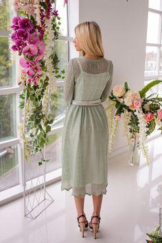 """Купить Платье """"Фисташковое мороженое"""" - оливковый, однотонный, мохеровое платье, платье из мохера, зимнее платье"""