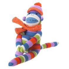 Striped Sock Monkey Plush