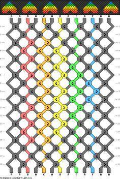 Friendship bracelet - pattern 301 - 13 strings 6 colours - Multi coloured hearts