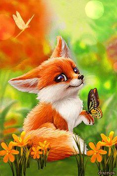 DIY Diamond Painting Square Full Drill Diamond Art by Numbers Kit Diamonds Embroidery for Wall Decor Cute Fox Cute Animal Drawings, Cute Animal Pictures, Cute Drawings, Pet Anime, Anime Animals, Fuchs Baby, Fox Drawing, Fox Art, Cute Fox