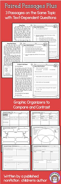 Three passages on the same topic with text-dependent questions and graphic organizers for comparing and contrasting! Pick any two or use all three! Written by a published children's author.