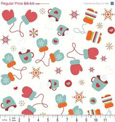 COUNTDOWN SALE FLANNEL, Colorful Christmas, Mittens in white, 1 yard $6.38 sale