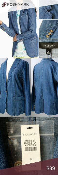 TALBOTS Unlined Tencel Denim Jean Jacket sz M Quality unlined jacket blazers can be hard to find for spring and summer wear. This one looks more structured and powerful than a cardigan, yet can be worn for a denim-on-denim look or paired with white jeans as easily as a tan pencil skirt.   Tencel / Lyocell, Cotton, Linen blend for a wonderful feel. Neither tight-fitting or boxy. A perfect silhouette for warm weather wear.  True to size. Denim-blue color. New with tags. Talbots Jackets & Coats…