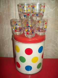 Vintage RUHRGLAS SHOT GLASSES BARWARE RED YELLOW BLUE DOTS DECOWARE CANISTER | eBay