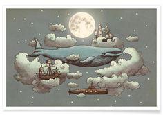 Ocean meets sky als Premium Poster